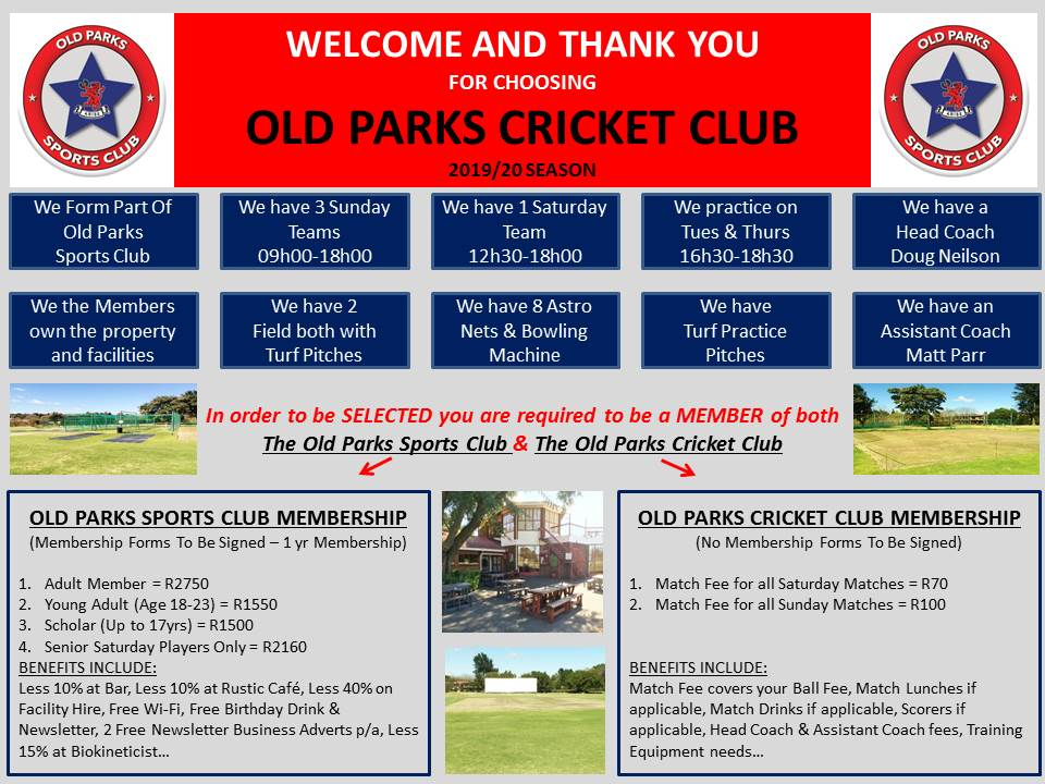 Old Parks Welcome To Cricket Flyer